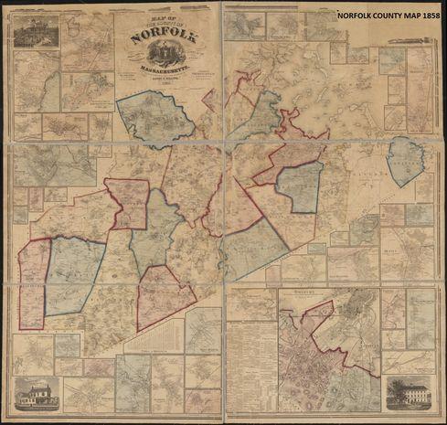Norfolk County Map circa 1858
