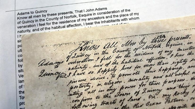 Picture of Adams Deed with Transcribed Image