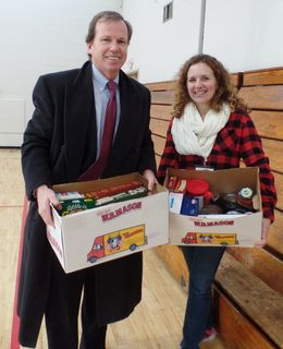 Register O'Donnell Delivers Annual Food Drive Donations to Weymouth Food Pantry